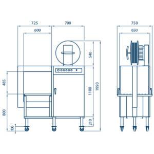 Flejadora SPK 2000 - dimensiones.