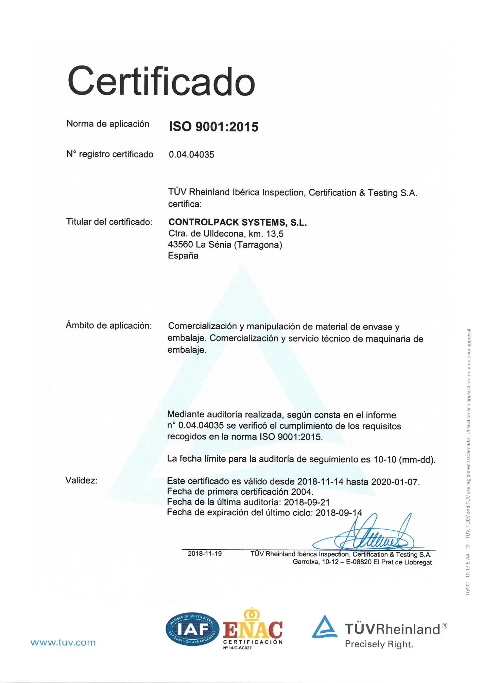 Certificado ISO Español