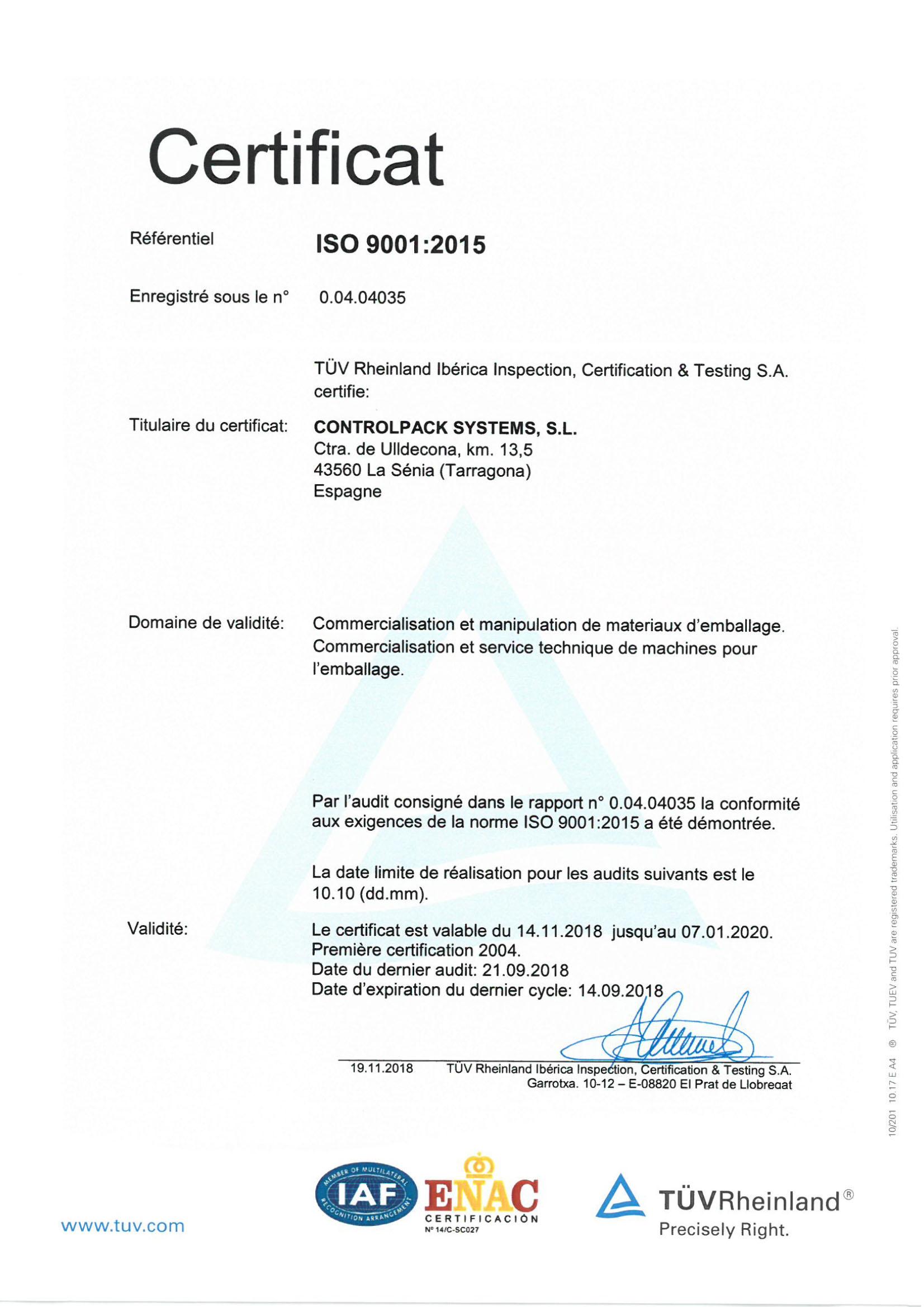 Certificat ISO Francaise