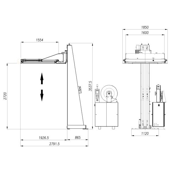Flejadora SPK 2900 - dimensiones.