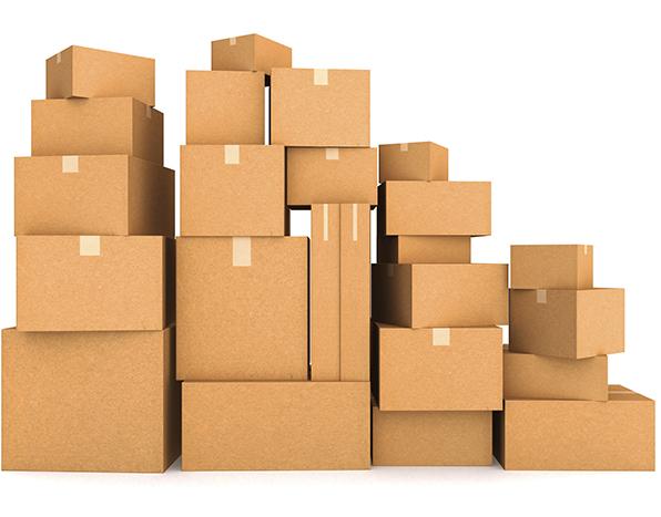 Cajas de cartón de diferentes tipos y medidas.