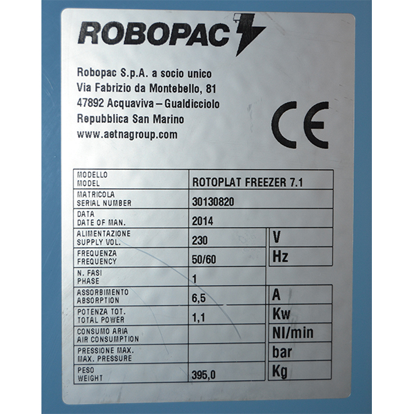 matricula rotoplat freezer